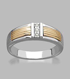 0.21 ct. t.w. Diamond Men's Ring in Sterling Silver and 14K Yellow Gold