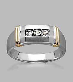 0.02 ct. t.w. Diamond Men's Ring in Sterling Silver and 14K Yellow Gold