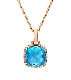 Effy® Blue Topaz and 0.09 ct. t.w. Diamond Pendant in 14K Rose Gold