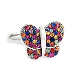 Effy® Multicolor Sapphire Butterfly Ring in Sterling Silver