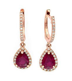 Effy® Lead Glass Filled Ruby and .26 ct. t.w. Diamond Earrings in 14K Rose Gold