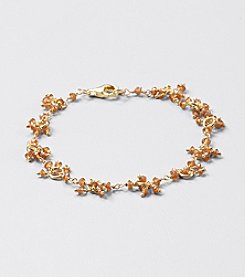 Genuine Faceted Hessonite Rondelle Cluster Bracelet