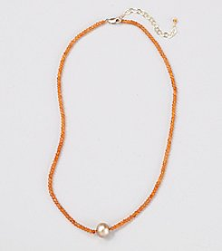 Genuine Faceted Carnelian Rondelles Necklace with Champagne Freshwater Pearl Center