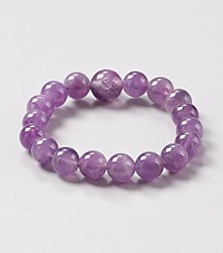 Genuine Amethyst Prayer Beads Elastic Bracelet