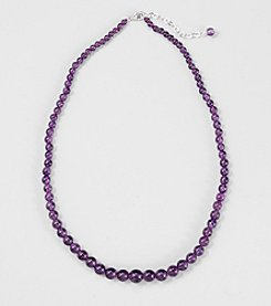Genuine Amethyst Graduated Necklace with Sterling Silver Clasp