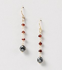 Genuine Faceted Garnet and Hematite Linear Earrings