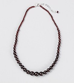 Genuine Graduated Garnet Beaded Necklace with Sterling Silver Clasp