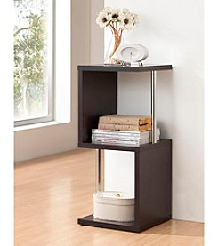 Baxton Studios 2-Tier Lindy Dark Brown Modern Display Shelf