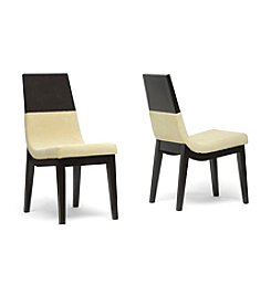 Baxton Studios Set of 2 Prezna Dark Brown and Beige Modern Dining Chairs
