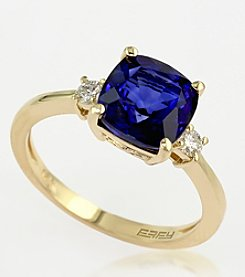 Effy® Manufactured Diffused Sapphire and Diamond Ring in 14K Yellow Gold