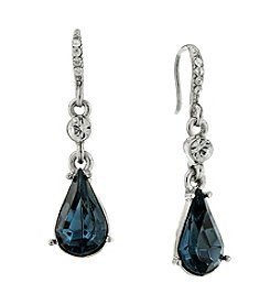 Downton Abbey® Silvertone Crystal Montana Blue Sapphire Pear Drop Earrings