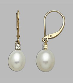 6mm Cultured Freshwater Pearl & Diamond .05 ct. t.w. Earrings 10K Yellow Gold