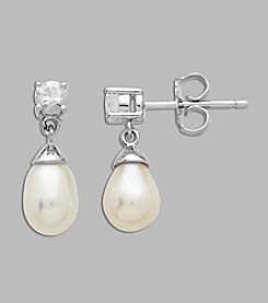 Cultured Freshwater Pearl and Created White Sapphire Earrings in Sterling Silver