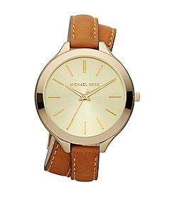 Michael Kors® Mid-Size Luggage Leather and Goldtone Stainless Steel Slim Runway Three-Hand Watch