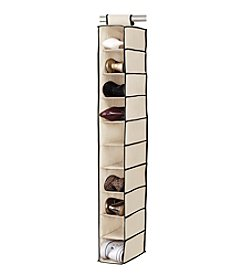 Simplify Cream 10-Shelf Hanging Organizer with Black Trim