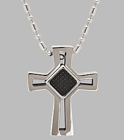 Men's Stainless Steel Cross with Carbon Diamond in Center Pendant