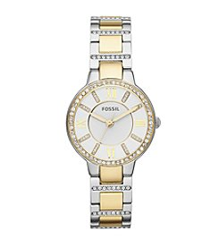 Fossil® Women's 34mm Virginia Two-Tone Stainless Steel Watch With Glitz Top Ring
