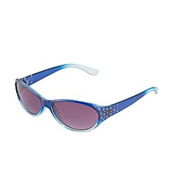 Relativity® Navy Small Oval Sunglasses With Stone And Stud Accents