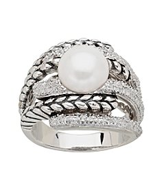 Sterling Silver 10mm Freshwater Pearl with .15 ct. t.w. Diamond Ring