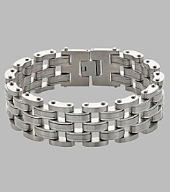 Men's Stainless Steel Five Row Panther Link Bracelet