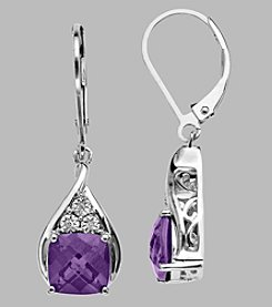 Amethyst & .01 ct. t.w Diamond Leverback Earrings in Sterling Silver