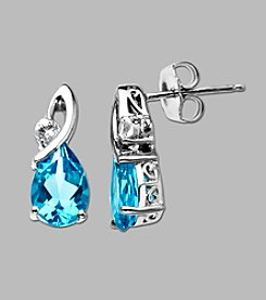 Sterling Silver Blue & White Topaz Earrings