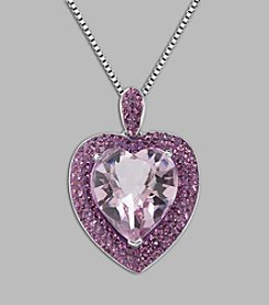 Impressions® Purple Crystal Heart Pendant Necklace in Sterling Silver