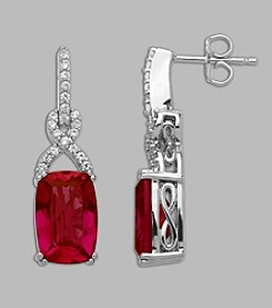 Created Ruby & Created White Sapphire Earrings in Sterling Silver