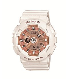 Baby-G Women's Glossy White Analog-Digital Watch with Resin Band and Rose Goldtone Dial