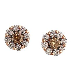 Effy® .76 Ct. T.W. Espresso and White Diamond Earrings in 14K Rose Gold