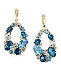 Effy® Blue Topaz and .07 Ct. t.w. Diamond Earrings in 14K Yellow Gold