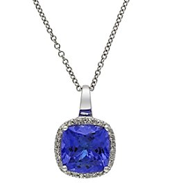 Effy® Tanzanite and .12 Ct. T.W. Diamond Pendant in 14K White Gold