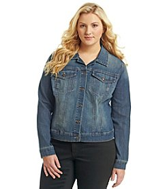 Jessica Simpson Plus Size Long Sleeve Pixie Denim Jacket