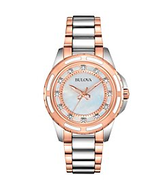 Bulova® Women's Two-Tone Diamond Set Case Watch With Mother Of Pearl Dial