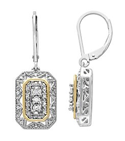 .08 ct. t.w. Diamond Vintage Design Earrings in Sterling Silver/14K Gold