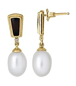 Onyx, Diamond & Freshwater Pearl Earrings in 10K Yellow Gold