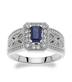 Created Blue Sapphire & Created White Sapphire Ring in Sterling Silver