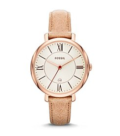 Fossil® Women's Jaqueline Watch in Polished Rose Goldtone with Sand Leather Strap
