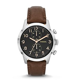 Fossil® Men's Townsman Watch in Brushed and Shiny Silvertone with Brown Leather Strap