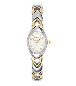 Bulova® Women's Two Tone Bracelet Style Watch With Mother Of Pearl Dial