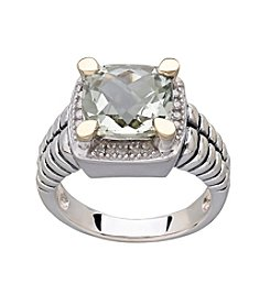 Sterling Silver 10x10mm Checkerboard Green Amethyst Stone with Diamonds Ring