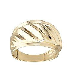 Polished Ribbed Band Ring 10K Yellow Gold