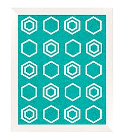 Polygon Pattern Aqua Cork Memo Board