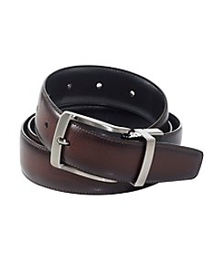 Perry Ellis Portfolio® Men's Brown/Black 'Burnished Edge' Reversible Leather Belt