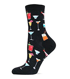 Hot Sox Black Tropical Drinks Trouser Socks