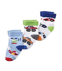 Cuddle Bear® Baby Boys' Assorted 3-Pack Transportation Socks