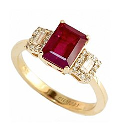 Effy® Lead Glass Filled Ruby & 0.24 ct. t.w. Diamond Ring in 14K Yellow Gold
