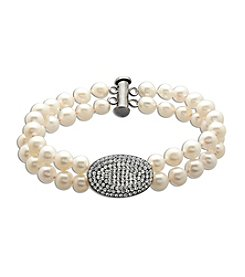 Freshwater Pearl Double Strand Crystal Bracelet in Sterling Silver