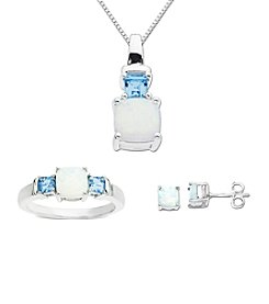 Created Opal and Blue Topaz Box Set in Sterling Silver