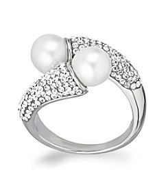 Freshwater Pearl Crystal Ring in Sterling Silver